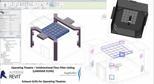 Operating Theater HVAC Design - BIM – REVIT Laminar Flow HEPA Filters Canopies
