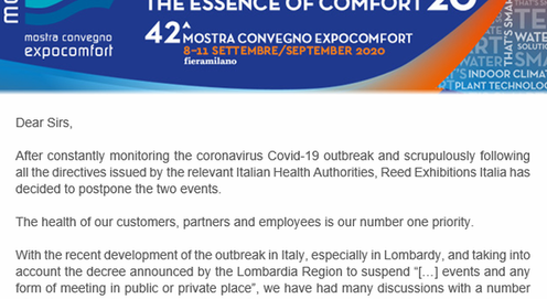 NEWS: Mostra Convegno ExpoComfort 2020 rescheduled to September 2020