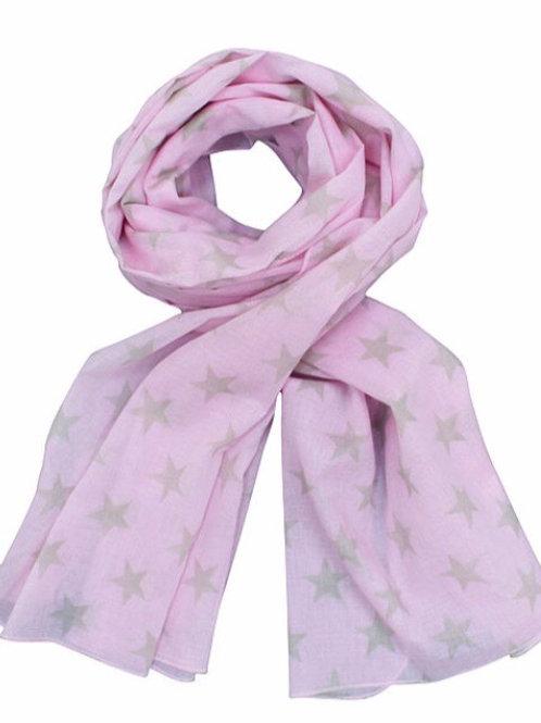 Tuch Krasilnikoff, rosa, graue Sterne