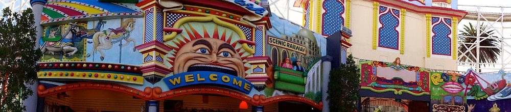 Spent part of our last day wandering through Luna Park in St Kilda - great design and cool cool place for kiddos
