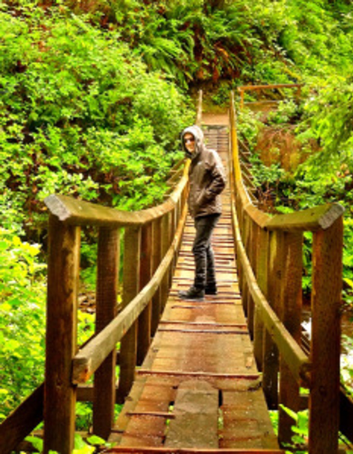 I've always loved this suspension bridge on the way to the shore...and check out my sweetie in his new Pacific Northwest raincoat!