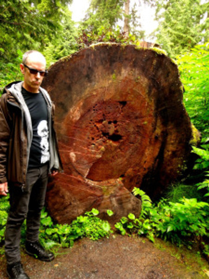talk about old...lovin' this monstrous felled tree in the forest...and my honey's serious face heehee