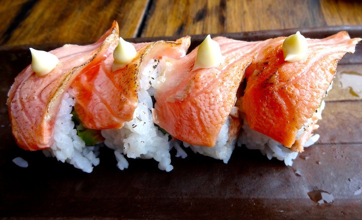 The most gorgeously delicious lobster and salmon roll at Ichi Ni on the esplanade.