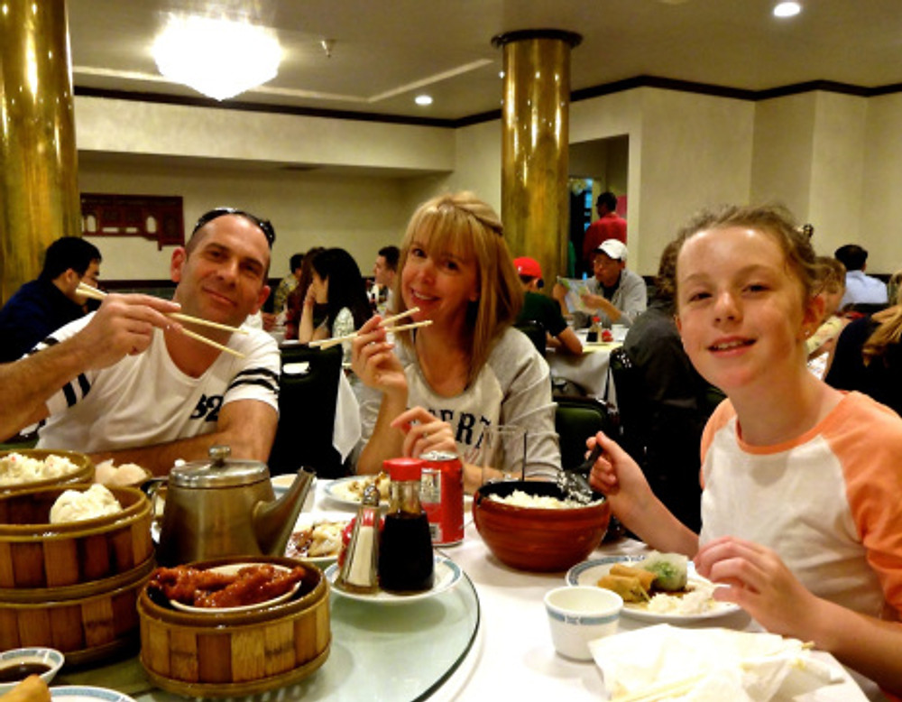 Great dim sum lunch in Chinatown - even got them to try some of the more unusual offerings!