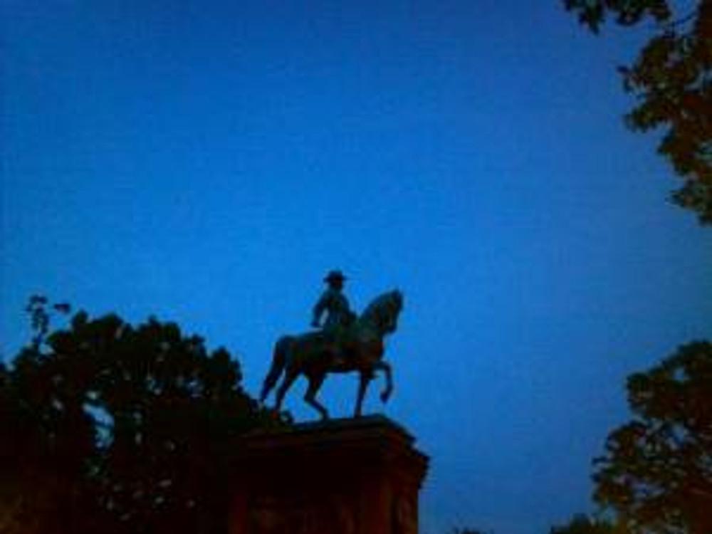 the blue evening sky
