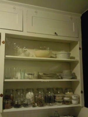 last year, when I'd simply pulled off the doors of the cabinet to try out open shelving