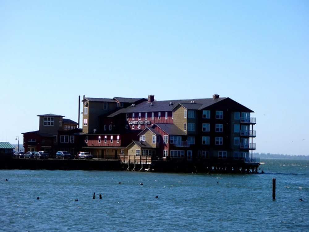 We arrived at our destination, the Cannery Pier Hotel, which sits not waterfront but ON the water. Pretty amazing!