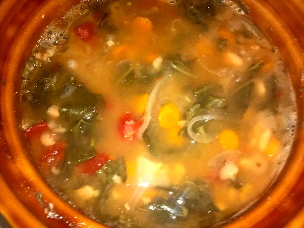 Oh and it definitely is a weekend for soup!!!  Got out the crock pot on Friday and made some Tuscan Kale & White Bean Soup, but unlike the recipe, used white beans from the bulk aisle, homemade stock from veggie scraps, and tomatoes, kale, carrots, onion and garlic all grown in my garden!  My only update to the recipe is that you should indeed add a wee bit of salt and pepper to the recipe if you're making it from scratch as this is bland as hell without a little seasoning. Just had another mug of it and dang! Hits the spot.