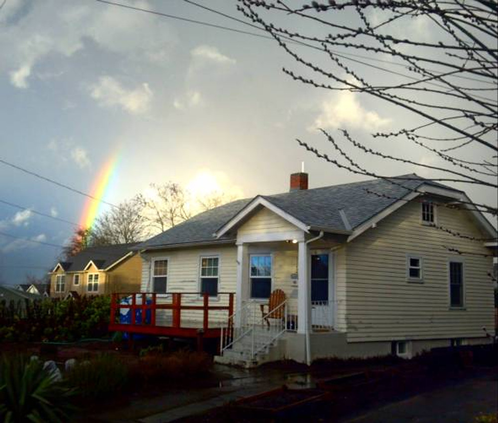 Tons and TONS of rain soaking already wet ground after the snow melted, and even though I felt like Dorothy in the Wizard of Oz walking home one day, this rainbow made it all worthwhile as I walked towards my house :)