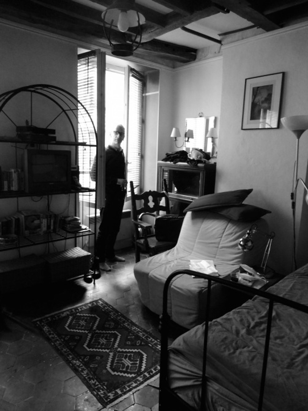 Our tiny place in Montmartre. Cute but with an uncomfortable bed, and shower reminiscent of an upright coffin.