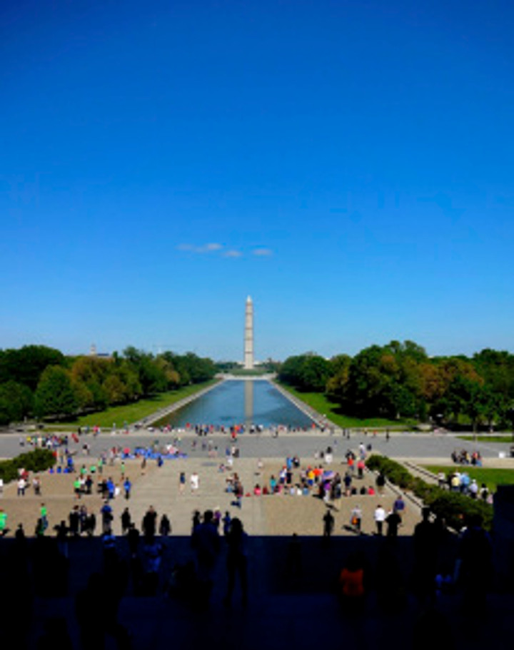"""view of the Washington Monument from the steps of the Lincoln Memorial...hate to say it but my initial thought of this moment was """"FORREST!"""" :)"""