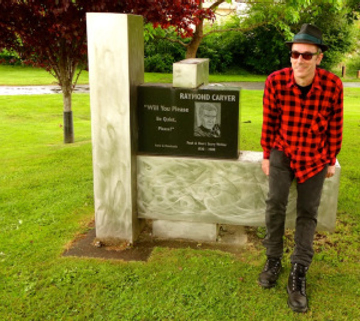 great to see my fella get all sentimental at visiting the memorial to his hero, Raymond Carver, who was born a block away from this spot in Clatskanie