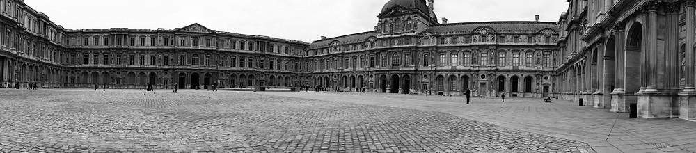 Panorama shot of the courtyard at the Louvre where we watched people, including a super cute little girl chasing a puppy...
