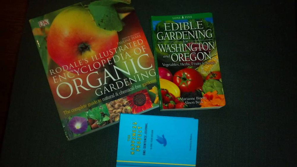 But on a happy note, we finally spent the rest of our Powell's gift card (a rad wedding present!) on two gardening books, plus a 5-year journal for me :)