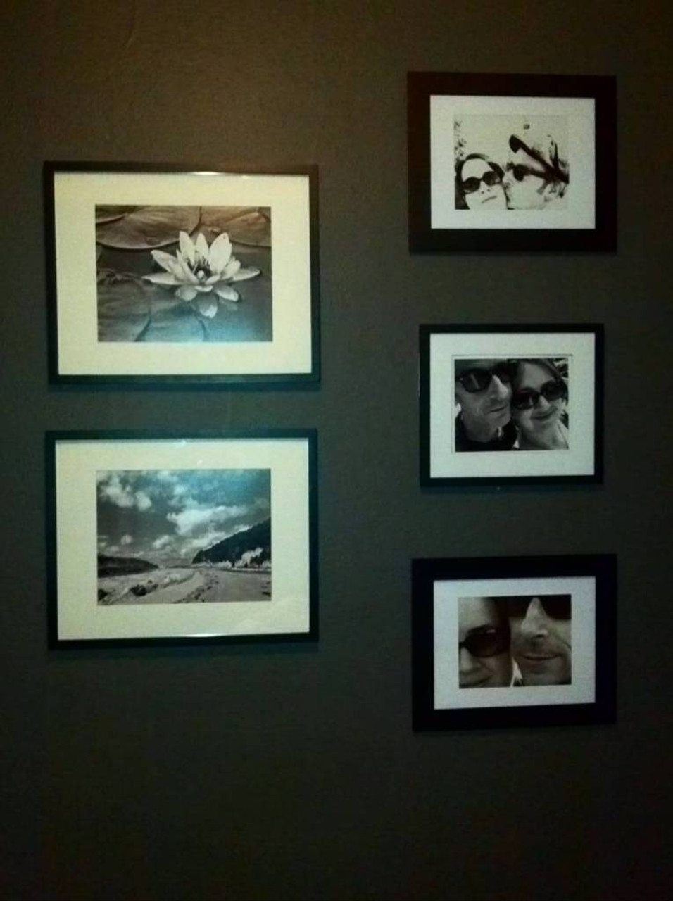 And finally, inspired by another friend's gallery wall she posted on the social media, I finally got off my arse and finished framing and hanging our photos - and thanks to Dan's suggestion of those cool velcro sticker hangin