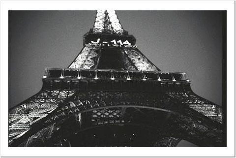 Looking up at the Eiffel Tower in 1999 as it counted down to the new millenium...my how I have changed since this was taken...