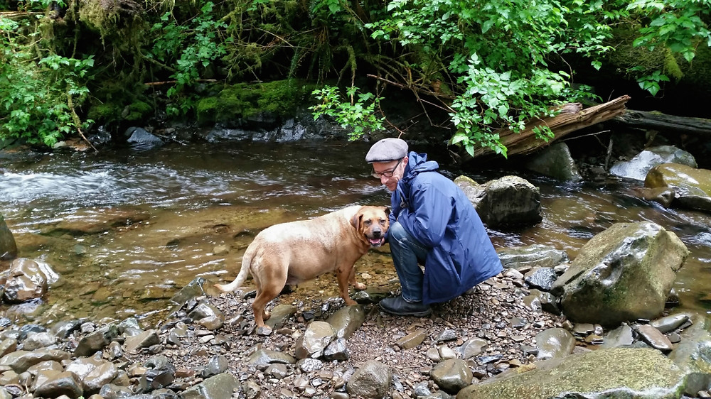 My honey shows our dog the spot by the creek where he first saw me in my wedding dress and we walked together, just the two of us, to meet the others waiting in the clearing.