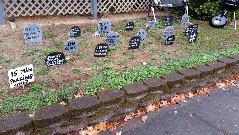 They are seriously funny in our neighborhood when it comes to Halloween season...