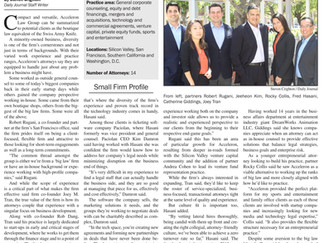 Daily Journal Profiles Acceleron Law Group