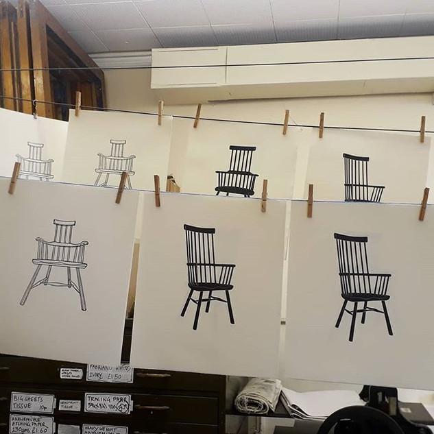 Chair linocuts drying @aberystwythprintm