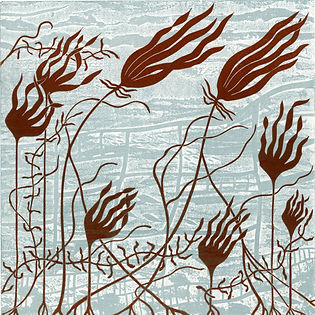 Oarweed Linocut and Etched Lino