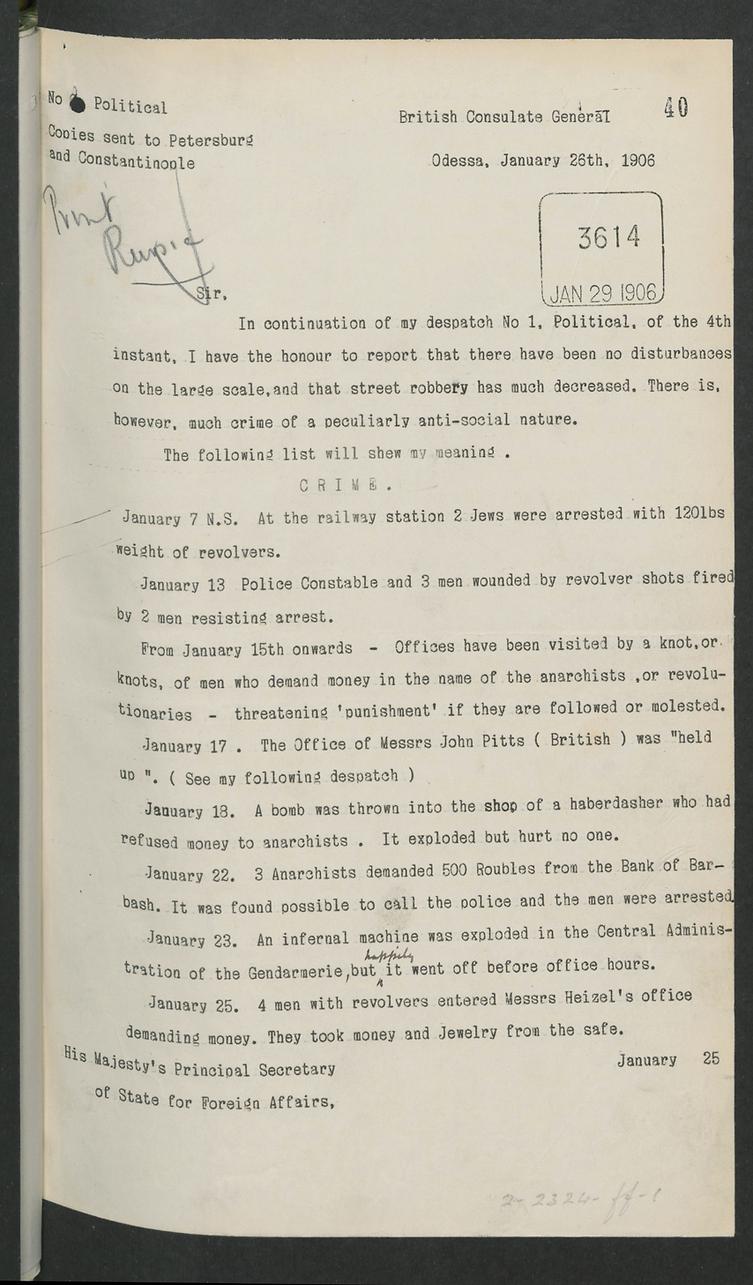 Rapport général du consul de Grande-Bretagne à Odessa 26 janvier 1906
