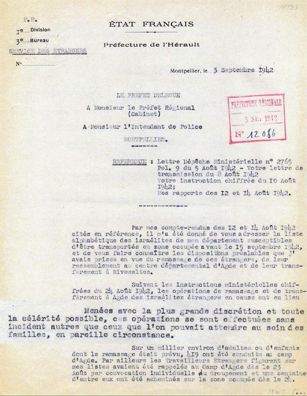 Lettre prefet Herault 03/09/1942