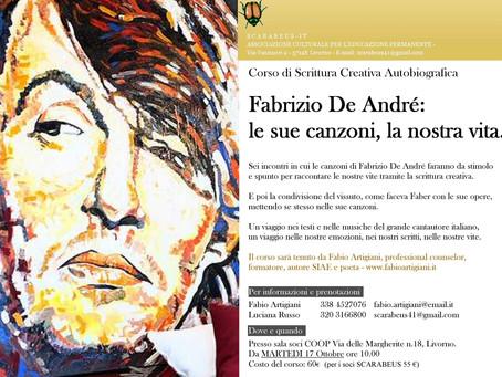 """Corso di scrittura creativa autobiografica """"Fabrizio De André: le sue canzoni, la nostra vita&q"""