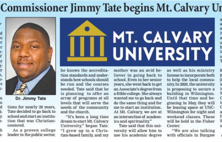 Former Commissioner Jimmy Tate begins Mt. Calvary University
