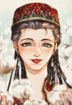 cotton and Xinjiang girl
