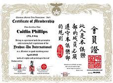 Caitlin Phillips - Certificate of Member