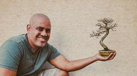 Mulato with his neea buxifolia bonsai in one hand
