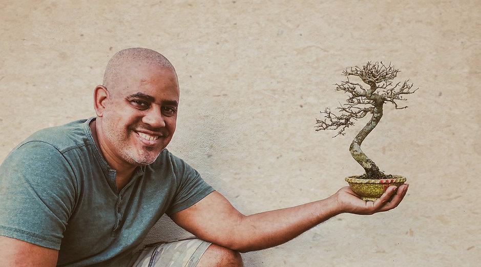 Mulato with a neea buxifolia bonsai in his hand