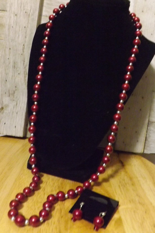 Red Necklace & Earrings- 1 Left