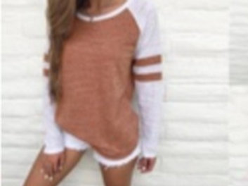 Brown & White Long Sleeves Occasional Shirt