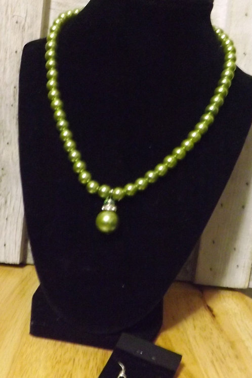 Green Necklace & Earrings - 1 Left