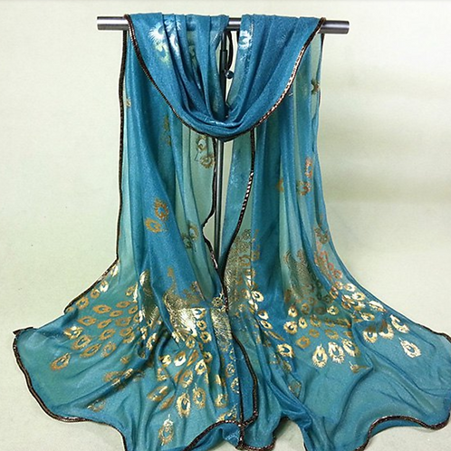 Peacock Scarf - Available in Blue & Pink