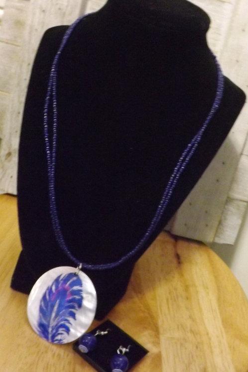 Set of Purple Necklace & Earrings- 1 Left