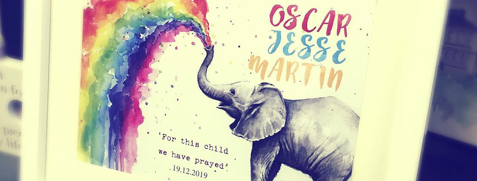 Rainbow Elephant Print