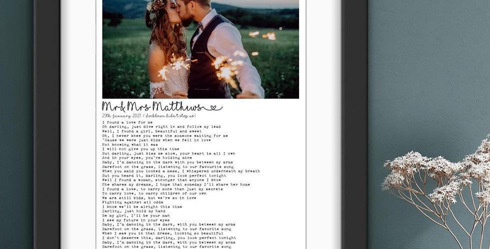 Custom Wedding + Lyrics Print
