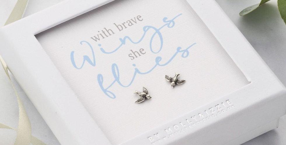 With Brave Wings Sterling Silver Earrings