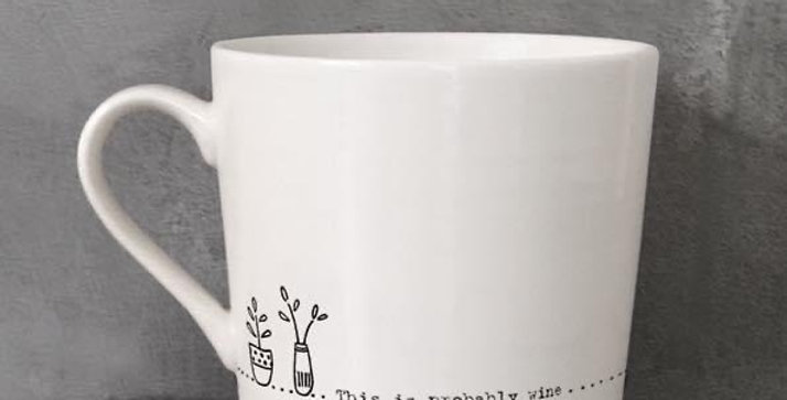 """East of India  """"This Is Probably Wine: Porcelain Mug"""