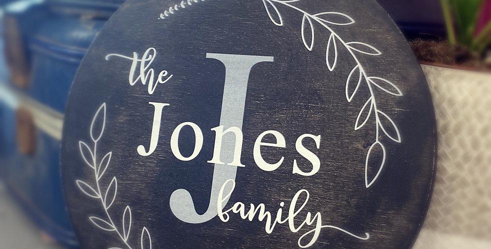 Family name circular wooden plaque