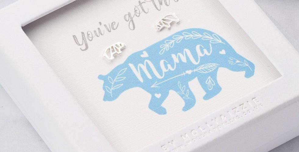 Mama Bear Silver Earrings