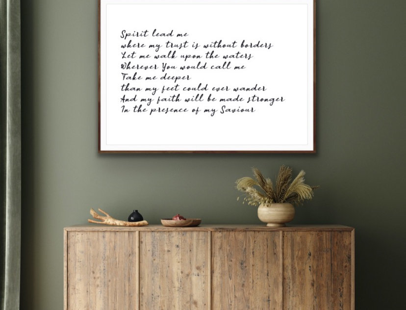 Oceans (where feet may fail) Hillsong Lyrics Print