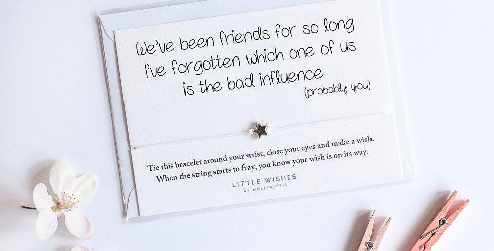 Friends Bad Influence Bracelet Card