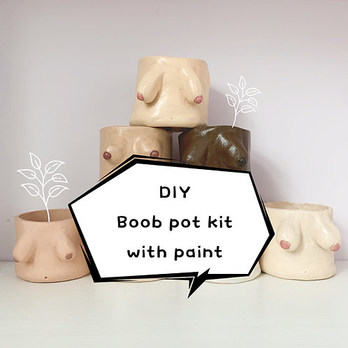 Boob Pot Kit with paint | Home DIY Pottery kit