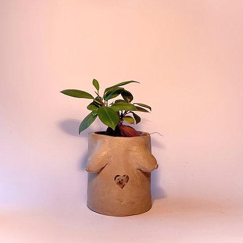 Personalised Photo Engraved on Handmade Boob Pot- Grey