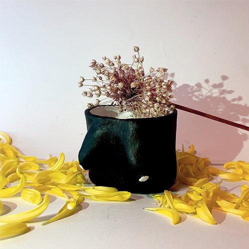 Arty Handmade Boob Pot- Black and White