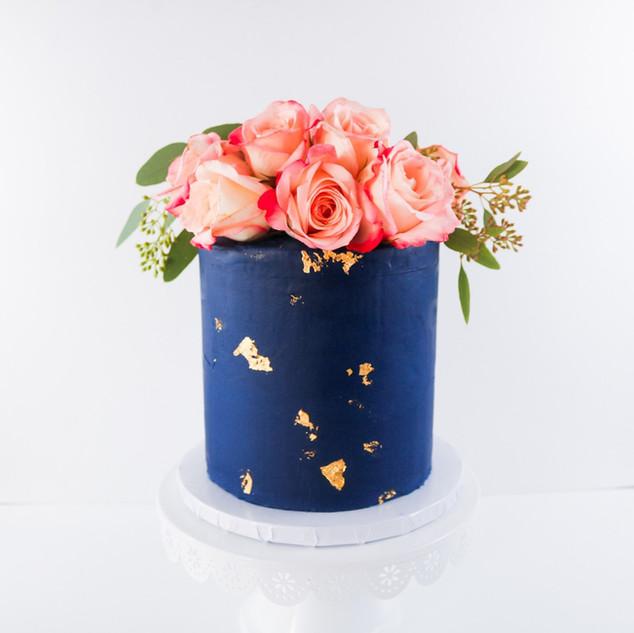 Navy Blue Floral Cake